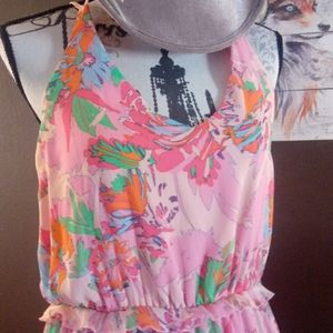 Graphic print pink flow dresss